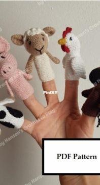Hansens Crochet To Play - Maiken Hansen - Farm Animals Finger Puppets