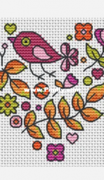 The World in Stitches - Autumn Heart with Bird  by Colleen Carrington - Free