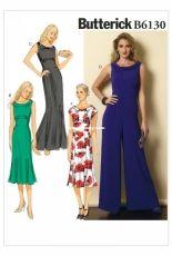 Butterick B6130 Misses' Portrait Collar Dresses and Jumpsuit sizes 6-14