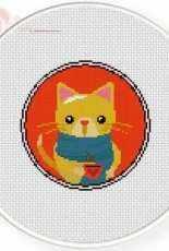 Daily Cross Stitch - Winter Coffee Kitty