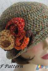 Kallie Designs - Rebecca - Womens Crochet Brimmed Flapper Hat With Large Flower Trim
