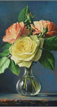 Gerdamoon 107 Roses on a Blue Background by P. Wagemans XSD