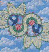 Blue Birds of Happiness Doily