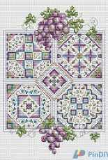 Grapes and Quilts by Ursula Michael From The Cross Stitcher USA February 2001