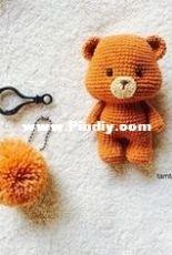 Teddy bear amigurumi crochet key chain by TAMTAM_AMI