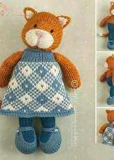 Little Cotton Rabbits-Girl Cat in a plaid dress by Julie Williams