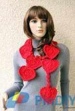 Lyubava Crochet-Valentine Hearts Crochet Scarf Lariat-Free