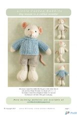 Little Cotton Rabbits-Boy Mouse in a cabled sweater by Julie Williams