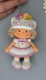 Thumbelina Amigurumi - Sveta toy - Svetlana Khoreva - Mini doll keychain Unicorn